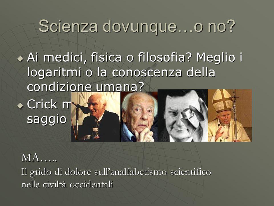Scienza dovunque…o no? Ai medici, fisica o filosofia? Meglio i logaritmi o la conoscenza della condizione umana? Ai medici, fisica o filosofia? Meglio