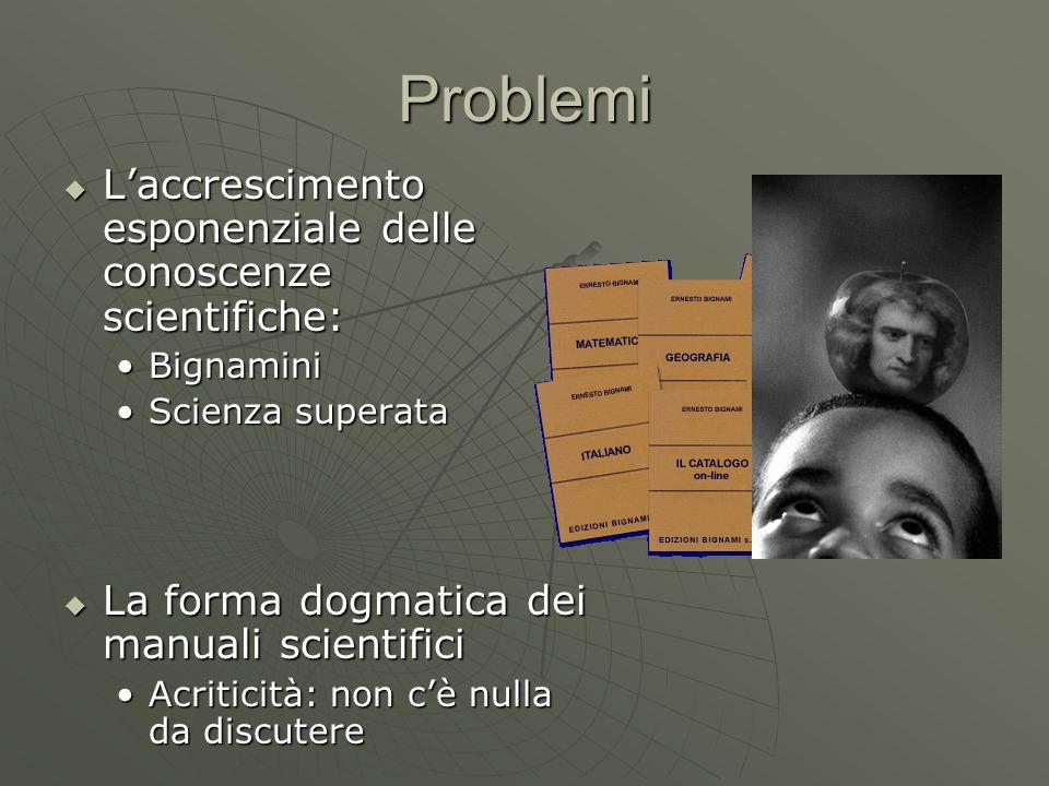 Problemi Laccrescimento esponenziale delle conoscenze scientifiche: Laccrescimento esponenziale delle conoscenze scientifiche: BignaminiBignamini Scie