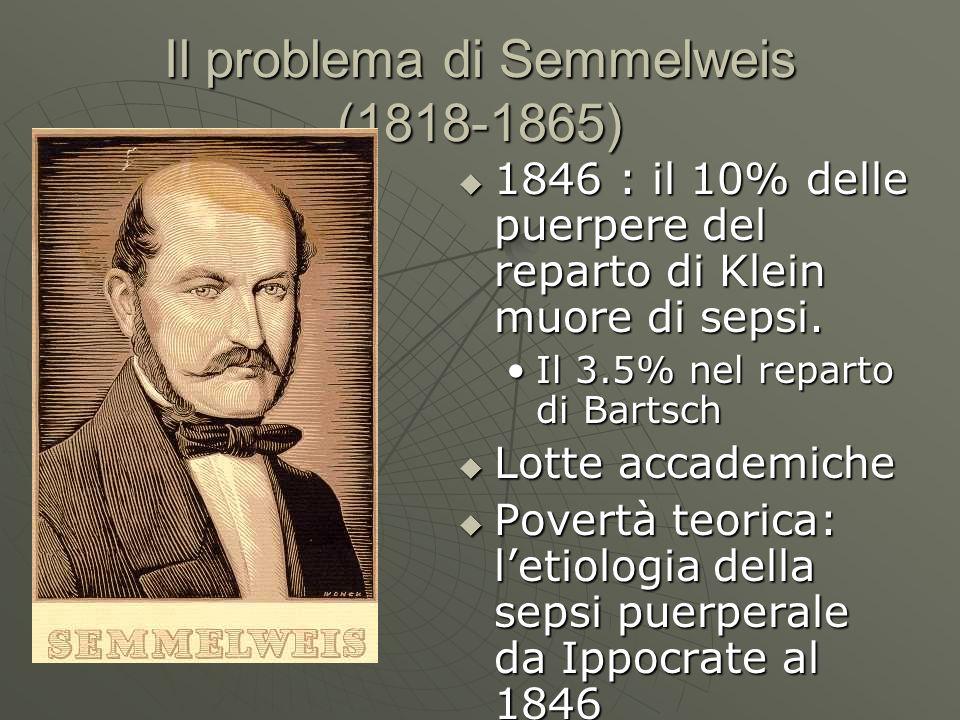 Il problema di Semmelweis (1818-1865) 1846 : il 10% delle puerpere del reparto di Klein muore di sepsi. 1846 : il 10% delle puerpere del reparto di Kl