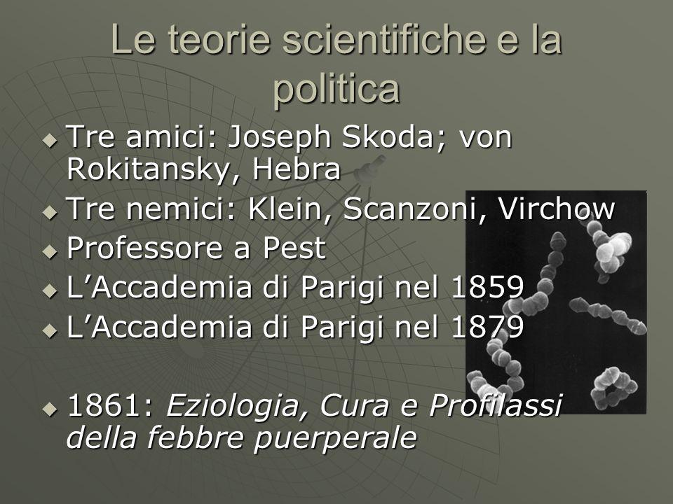 Le teorie scientifiche e la politica Tre amici: Joseph Skoda; von Rokitansky, Hebra Tre amici: Joseph Skoda; von Rokitansky, Hebra Tre nemici: Klein,