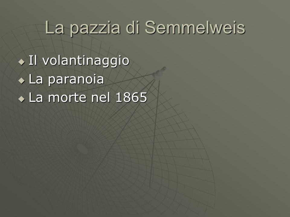 La pazzia di Semmelweis Il volantinaggio Il volantinaggio La paranoia La paranoia La morte nel 1865 La morte nel 1865