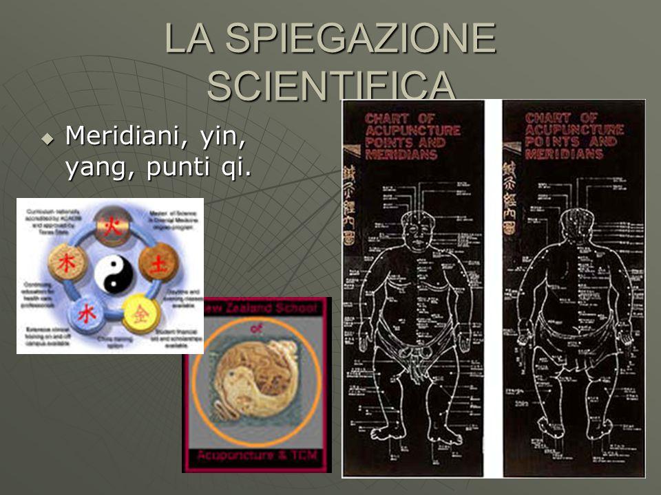 LA SPIEGAZIONE SCIENTIFICA Meridiani, yin, yang, punti qi. Meridiani, yin, yang, punti qi.