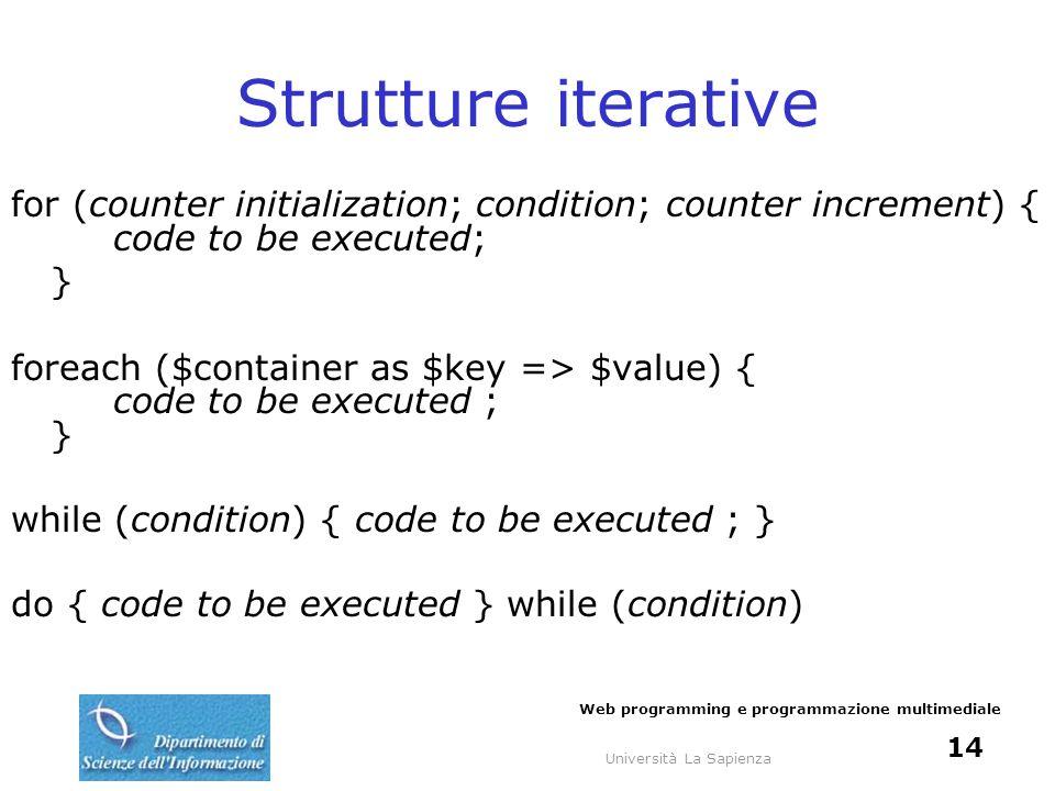 Università La Sapienza Web programming e programmazione multimediale 14 Strutture iterative for (counter initialization; condition; counter increment)