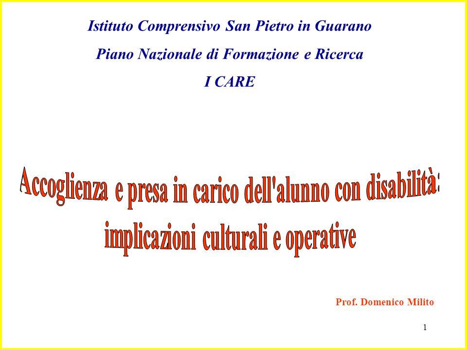 1 Istituto Comprensivo San Pietro in Guarano Piano Nazionale di Formazione e Ricerca I CARE Prof. Domenico Milito