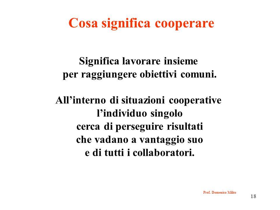 18 Prof. Domenico Milito Cosa significa cooperare Significa lavorare insieme per raggiungere obiettivi comuni. Allinterno di situazioni cooperative li