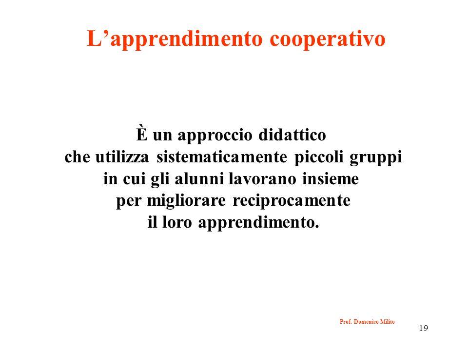 19 Prof. Domenico Milito Lapprendimento cooperativo È un approccio didattico che utilizza sistematicamente piccoli gruppi in cui gli alunni lavorano i