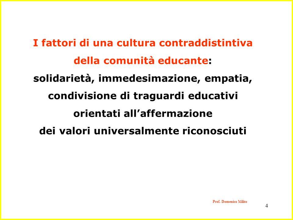 4 Prof. Domenico Milito I fattori di una cultura contraddistintiva della comunità educante: solidarietà, immedesimazione, empatia, condivisione di tra
