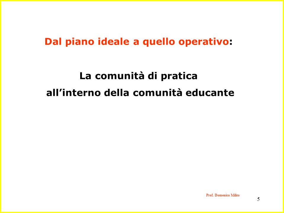 5 Prof. Domenico Milito Dal piano ideale a quello operativo: La comunità di pratica allinterno della comunità educante