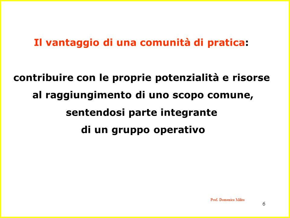 6 Prof. Domenico Milito Il vantaggio di una comunità di pratica: contribuire con le proprie potenzialità e risorse al raggiungimento di uno scopo comu