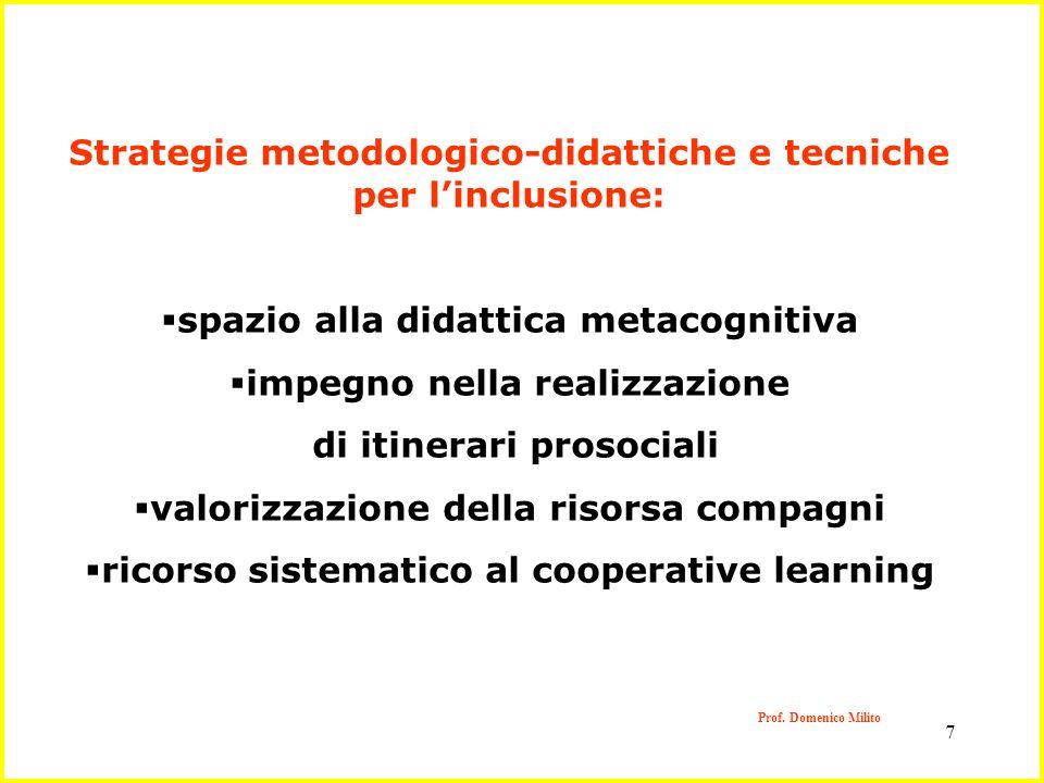 7 Prof. Domenico Milito Strategie metodologico-didattiche e tecniche per linclusione: spazio alla didattica metacognitiva impegno nella realizzazione