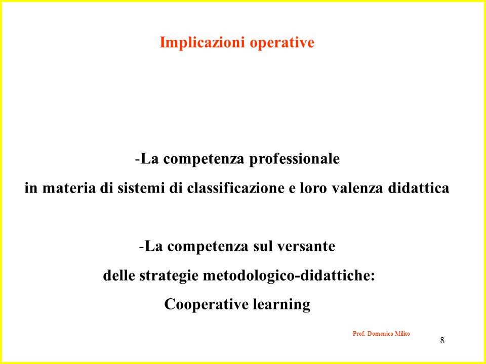 8 Prof. Domenico Milito Implicazioni operative -La competenza professionale in materia di sistemi di classificazione e loro valenza didattica -La comp