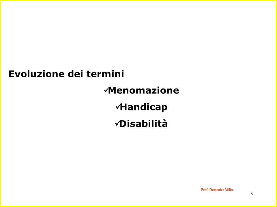 9 Evoluzione dei termini Menomazione Handicap Disabilità Prof. Domenico Milito