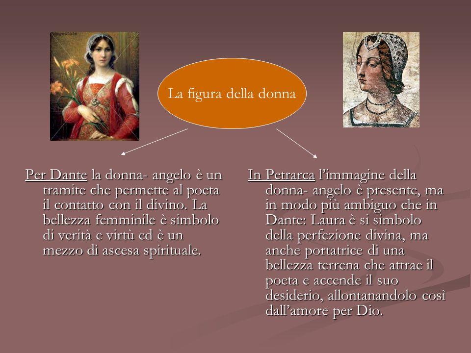 Per Dante la donna- angelo è un tramite che permette al poeta il contatto con il divino. La bellezza femminile è simbolo di verità e virtù ed è un mez