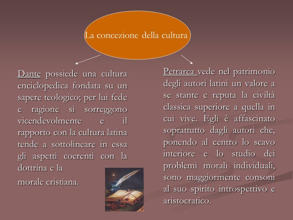 Dante possiede una cultura enciclopedica fondata su un sapere teologico; per lui fede e ragione si sorreggono vicendevolmente e il rapporto con la cul