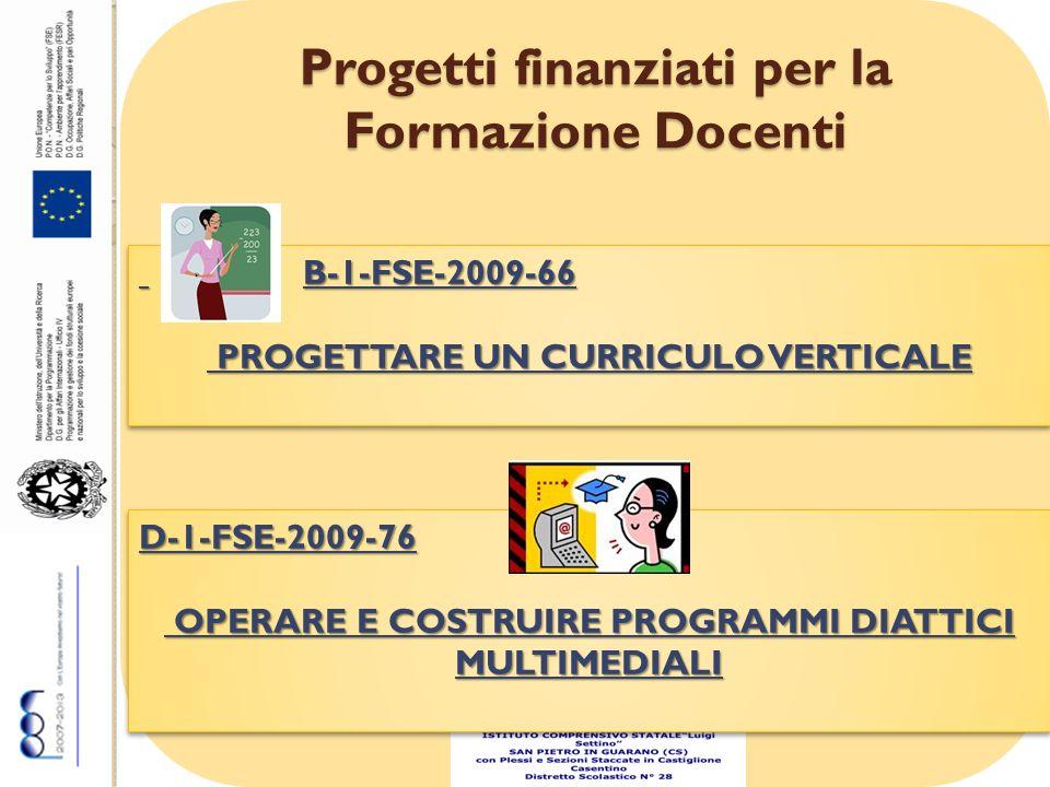 Progetti finanziati per la Formazione Docenti B-1-FSE-2009-66 B-1-FSE-2009-66 PROGETTARE UN CURRICULO VERTICALE PROGETTARE UN CURRICULO VERTICALE B-1-FSE-2009-66 B-1-FSE-2009-66 PROGETTARE UN CURRICULO VERTICALE PROGETTARE UN CURRICULO VERTICALE D-1-FSE-2009-76 OPERARE E COSTRUIRE PROGRAMMI DIATTICI MULTIMEDIALI OPERARE E COSTRUIRE PROGRAMMI DIATTICI MULTIMEDIALID-1-FSE-2009-76