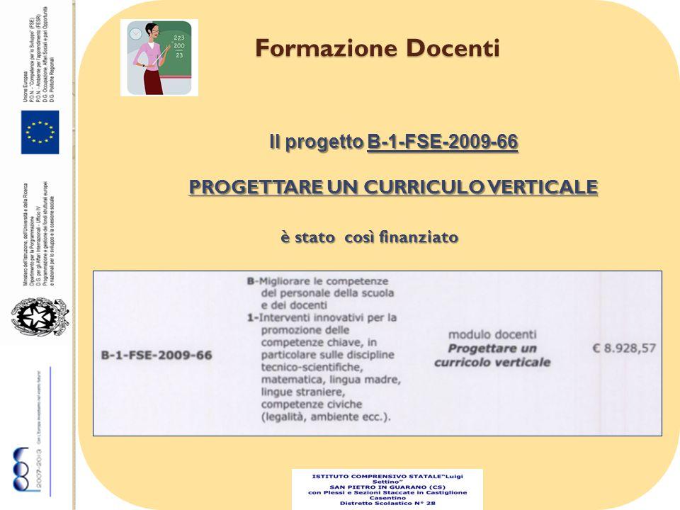 Formazione Docenti Il progetto B-1-FSE-2009-66 PROGETTARE UN CURRICULO VERTICALE è stato così finanziato