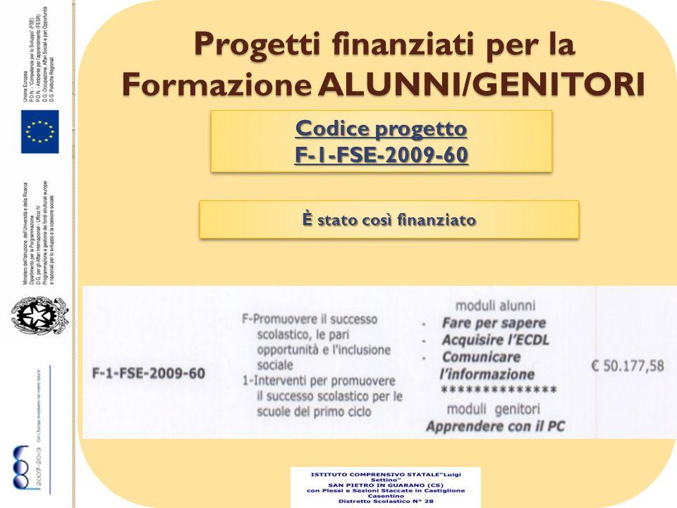 Progetti finanziati per la Formazione ALUNNI/GENITORI Codice progetto F-1-FSE-2009-60 F-1-FSE-2009-60 È stato così finanziato