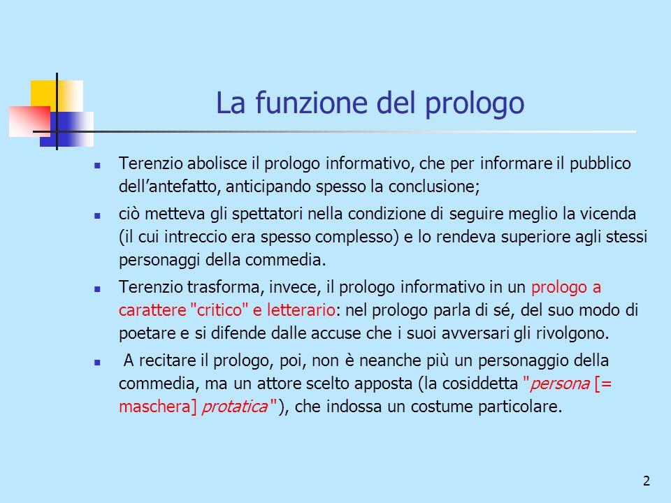 2 La funzione del prologo Terenzio abolisce il prologo informativo, che per informare il pubblico dellantefatto, anticipando spesso la conclusione; ci