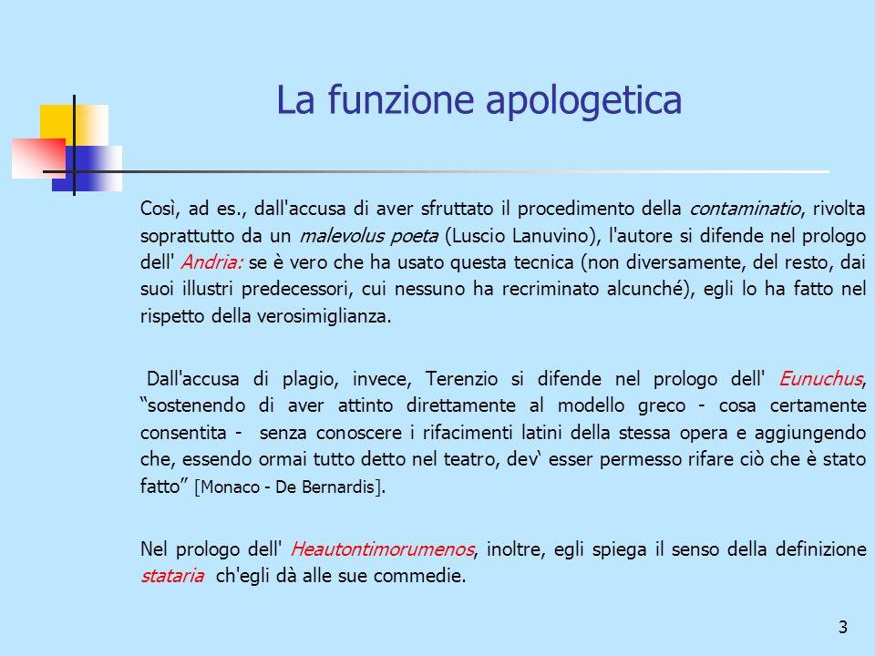 3 La funzione apologetica Così, ad es., dall'accusa di aver sfruttato il procedimento della contaminatio, rivolta soprattutto da un malevolus poeta (L