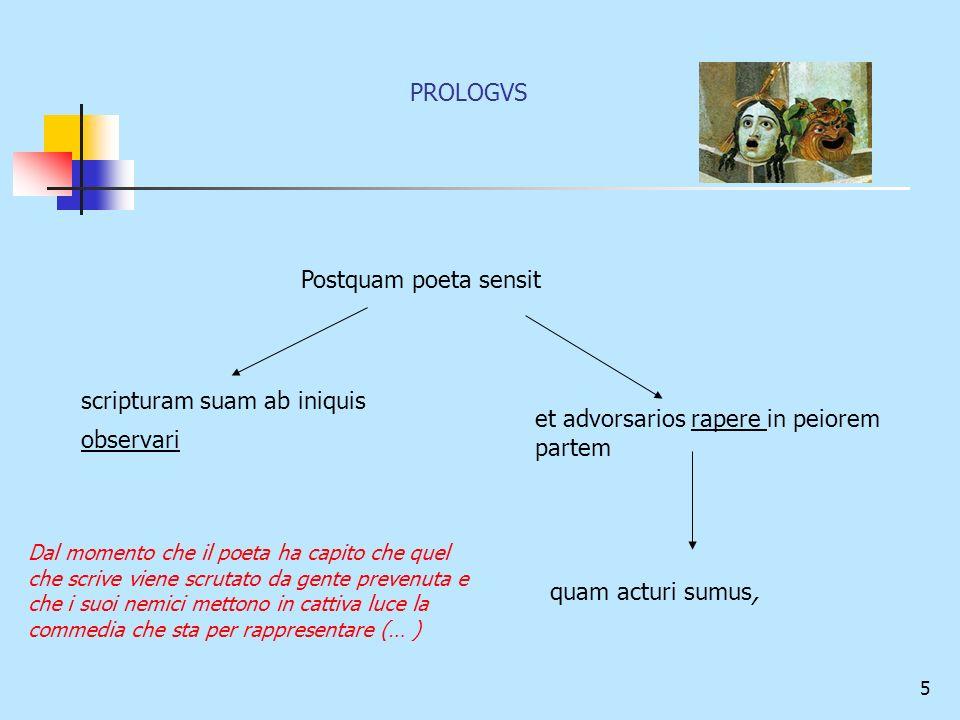 5 Postquam poeta sensit scripturam suam ab iniquis observari et advorsarios rapere in peiorem partem quam acturi sumus, Dal momento che il poeta ha ca