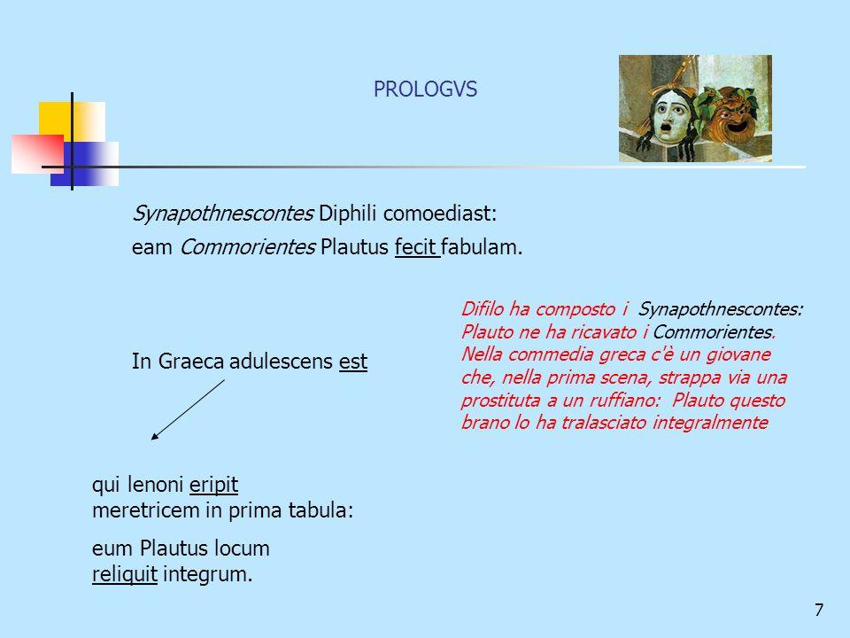 7 Synapothnescontes Diphili comoediast: eam Commorientes Plautus fecit fabulam. In Graeca adulescens est qui lenoni eripit meretricem in prima tabula: