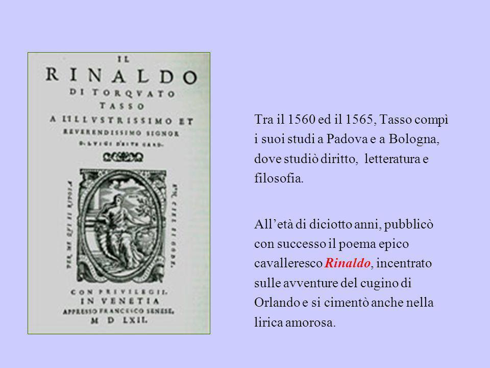 Tra il 1560 ed il 1565, Tasso compì i suoi studi a Padova e a Bologna, dove studiò diritto, letteratura e filosofia. Alletà di diciotto anni, pubblicò