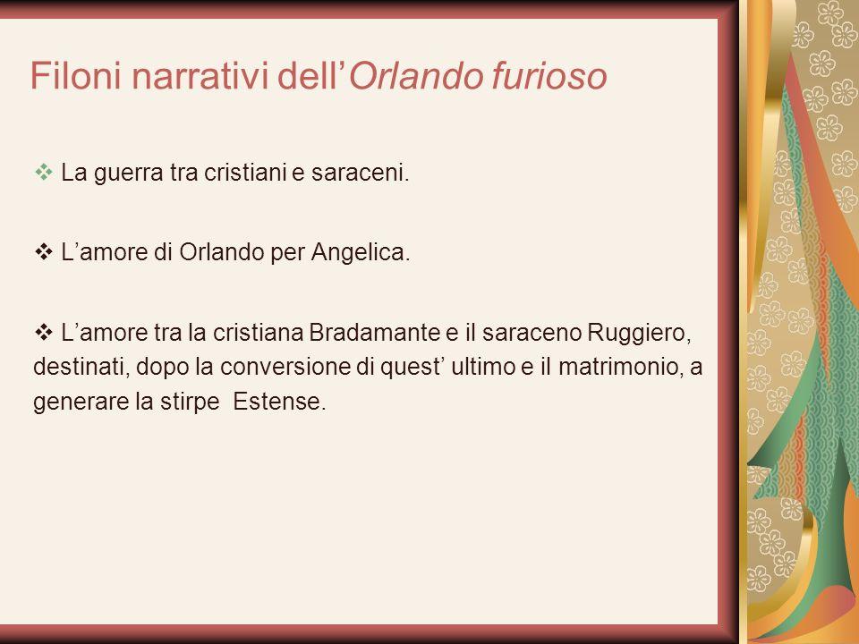 Filoni narrativi dellOrlando furioso La guerra tra cristiani e saraceni. Lamore di Orlando per Angelica. Lamore tra la cristiana Bradamante e il sarac