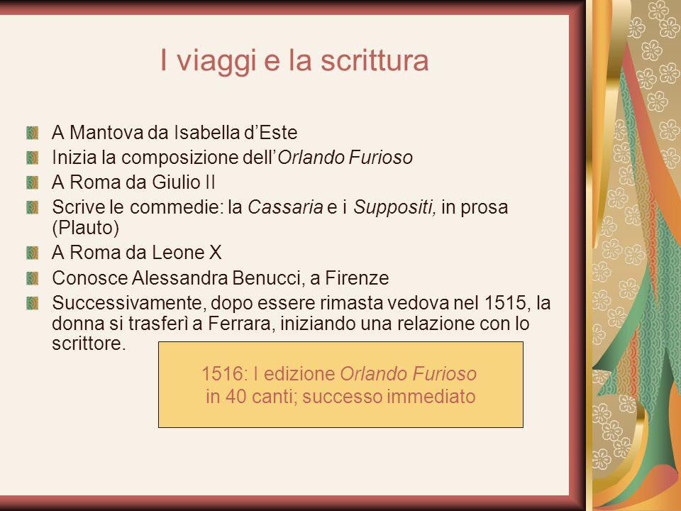 I viaggi e la scrittura A Mantova da Isabella dEste Inizia la composizione dellOrlando Furioso A Roma da Giulio II Scrive le commedie: la Cassaria e i