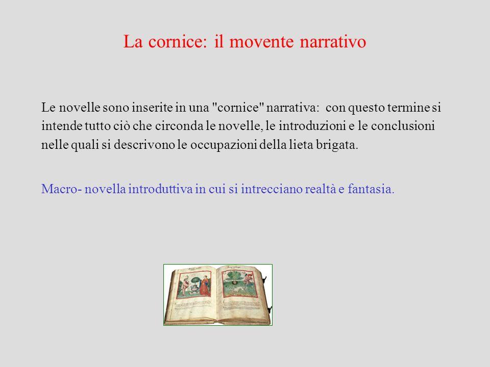 La cornice: il movente narrativo Le novelle sono inserite in una