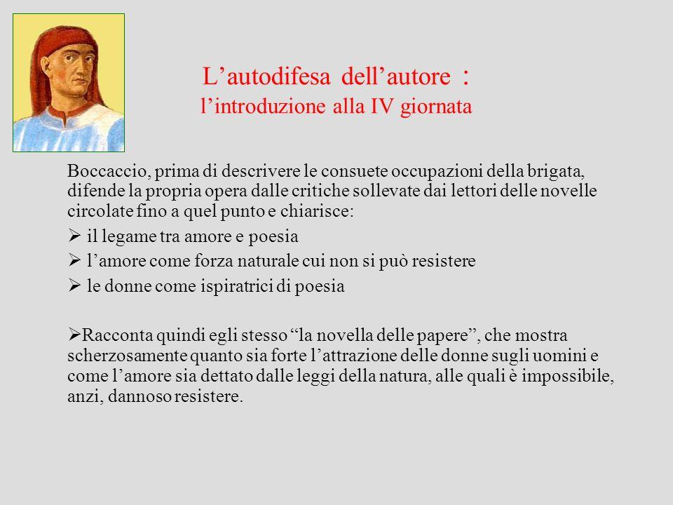 Lautodifesa dellautore : lintroduzione alla IV giornata Boccaccio, prima di descrivere le consuete occupazioni della brigata, difende la propria opera