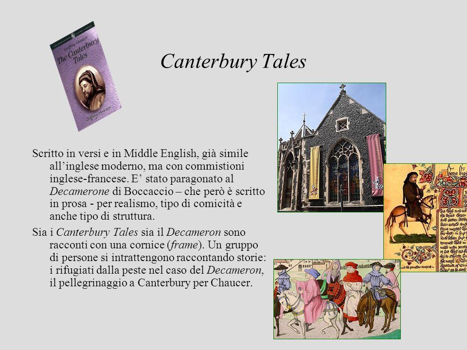Canterbury Tales Scritto in versi e in Middle English, già simile allinglese moderno, ma con commistioni inglese-francese. E stato paragonato al Decam