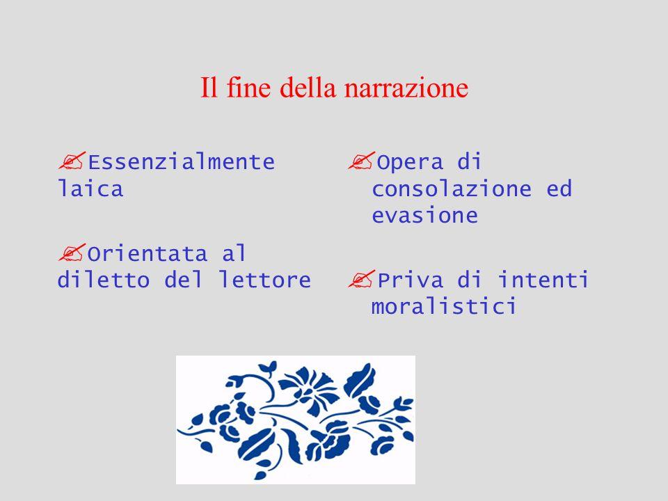 Il fine della narrazione Essenzialmente laica Orientata al diletto del lettore Opera di consolazione ed evasione Priva di intenti moralistici