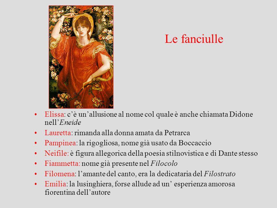 Le fanciulle Elissa: cè unallusione al nome col quale è anche chiamata Didone nellEneide Lauretta: rimanda alla donna amata da Petrarca Pampinea: la r