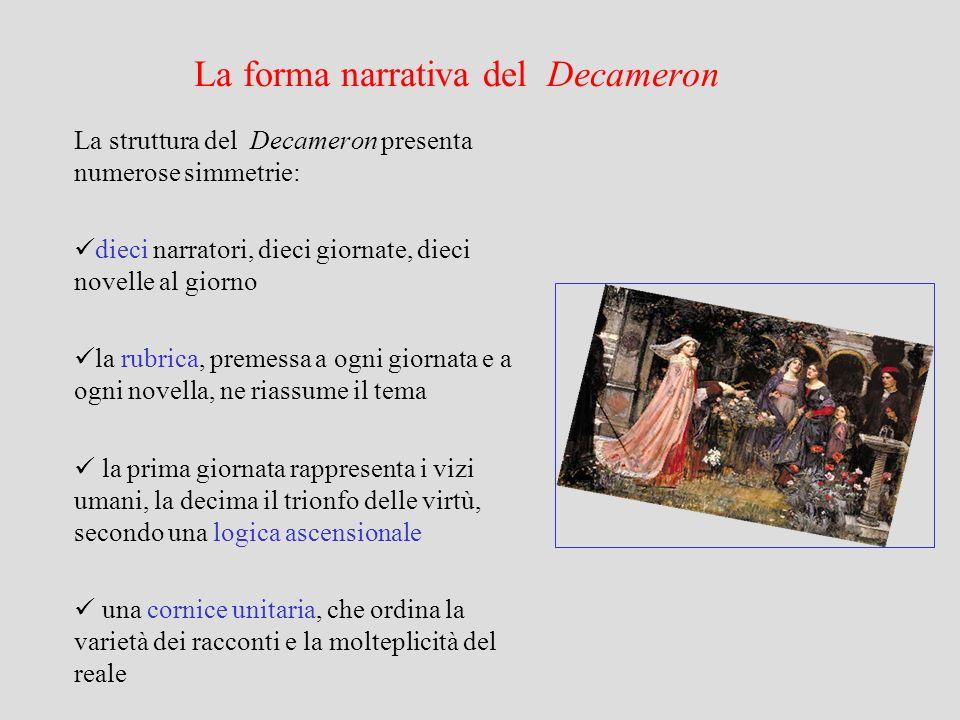 La forma narrativa del Decameron La struttura del Decameron presenta numerose simmetrie: dieci narratori, dieci giornate, dieci novelle al giorno la r