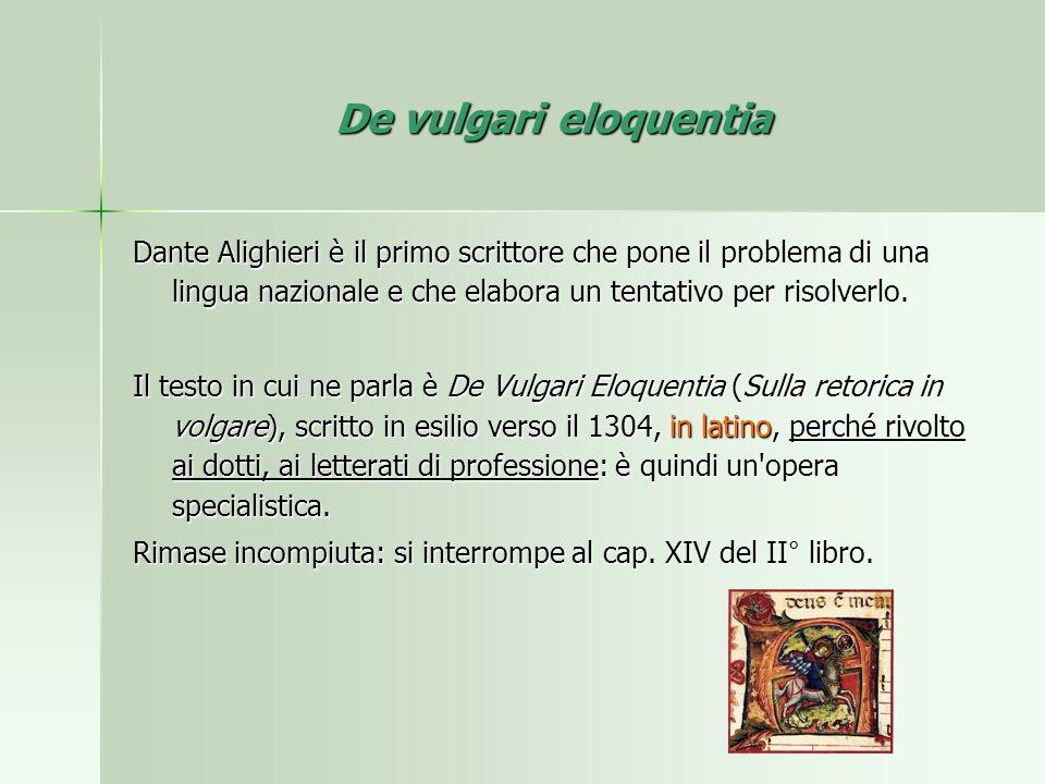 De vulgari eloquentia Dante Alighieri è il primo scrittore che pone il problema di una lingua nazionale e che elabora un tentativo per risolverlo. Il