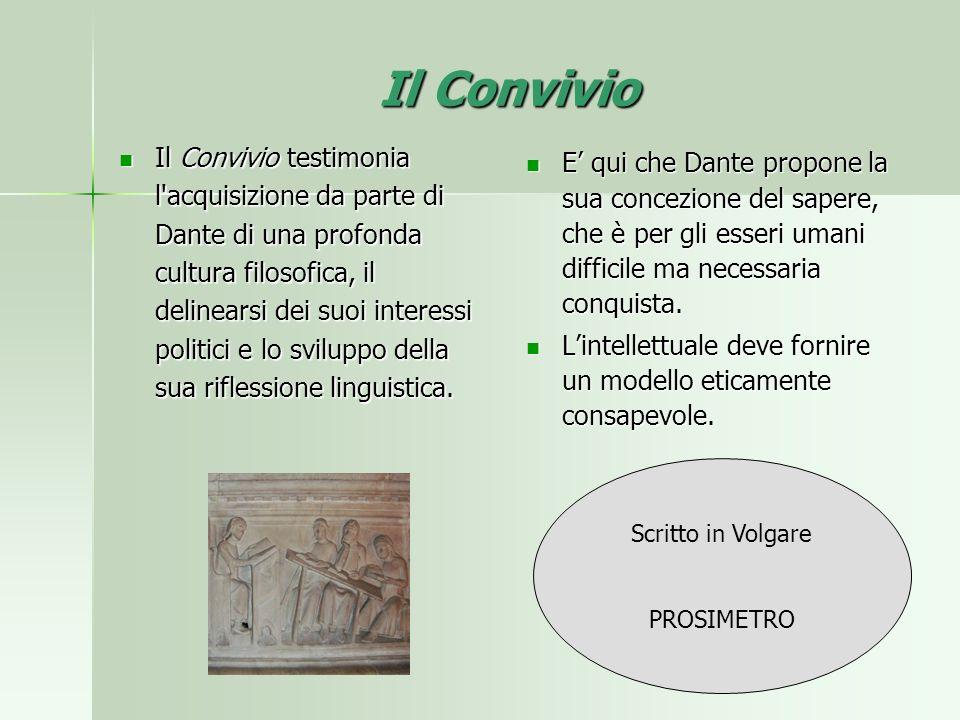 Il Convivio Il Convivio testimonia l'acquisizione da parte di Dante di una profonda cultura filosofica, il delinearsi dei suoi interessi politici e lo