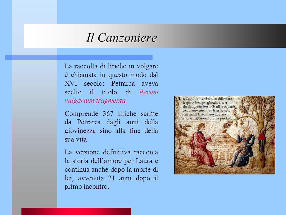 La raccolta di liriche in volgare è chiamata in questo modo dal XVI secolo: Petrarca aveva scelto il titolo di Rerum vulgarium fragmenta. Comprende 36