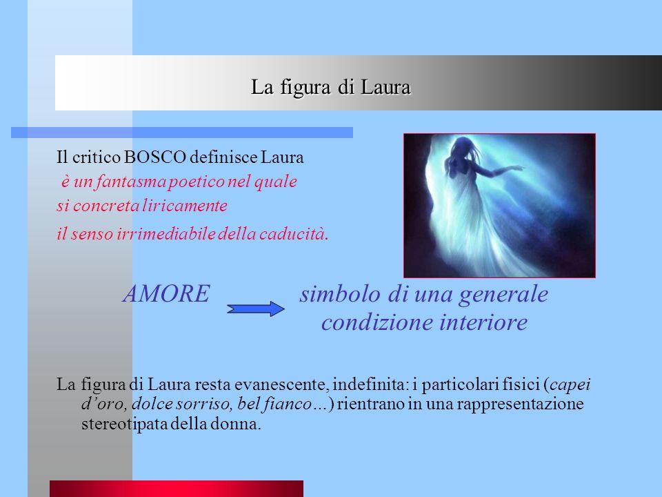 La figura di Laura Il critico BOSCO definisce Laura è un fantasma poetico nel quale si concreta liricamente il senso irrimediabile della caducità. AMO