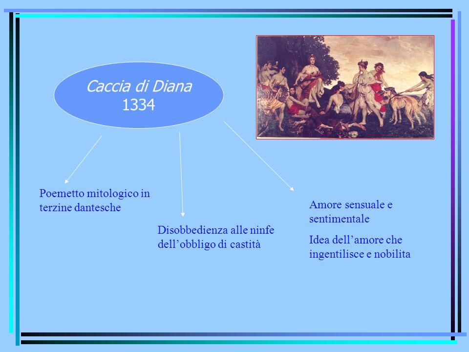 Caccia di Diana 1334 Poemetto mitologico in terzine dantesche Disobbedienza alle ninfe dellobbligo di castità Amore sensuale e sentimentale Idea della