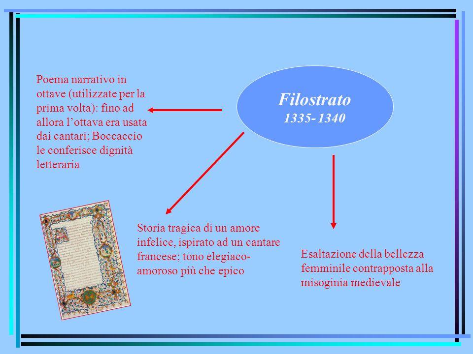 Filostrato 1335- 1340 Poema narrativo in ottave (utilizzate per la prima volta): fino ad allora lottava era usata dai cantari; Boccaccio le conferisce