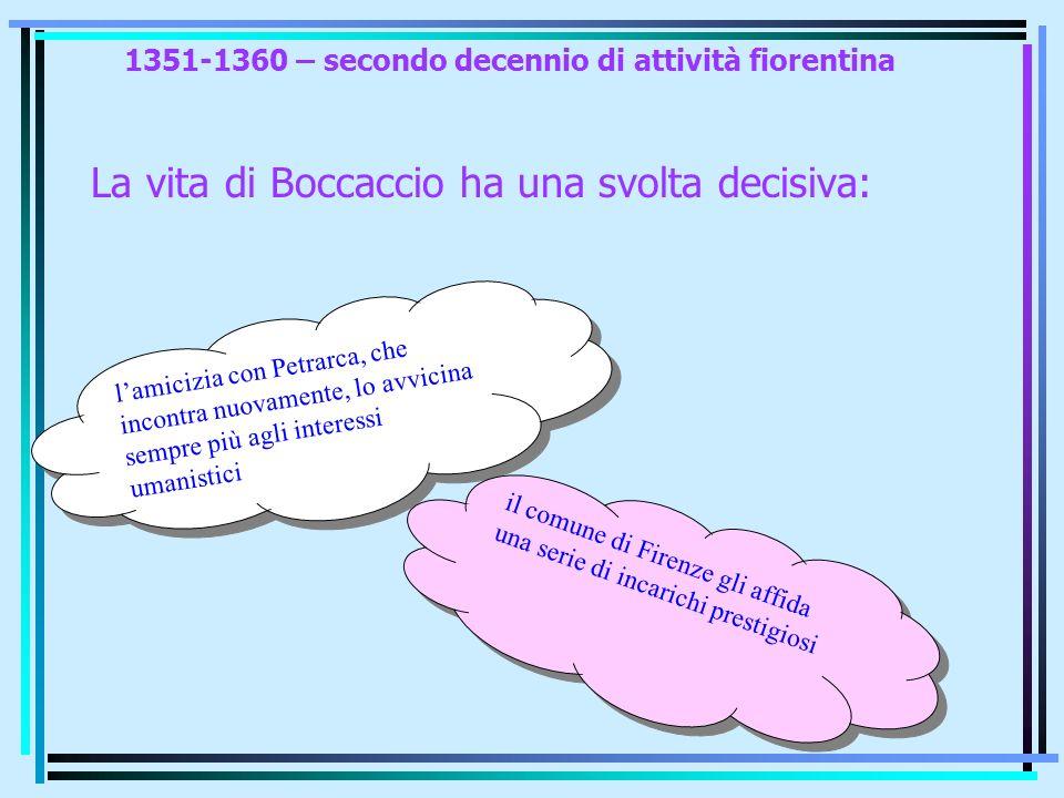 1351-1360 – secondo decennio di attività fiorentina La vita di Boccaccio ha una svolta decisiva: lamicizia con Petrarca, che incontra nuovamente, lo a