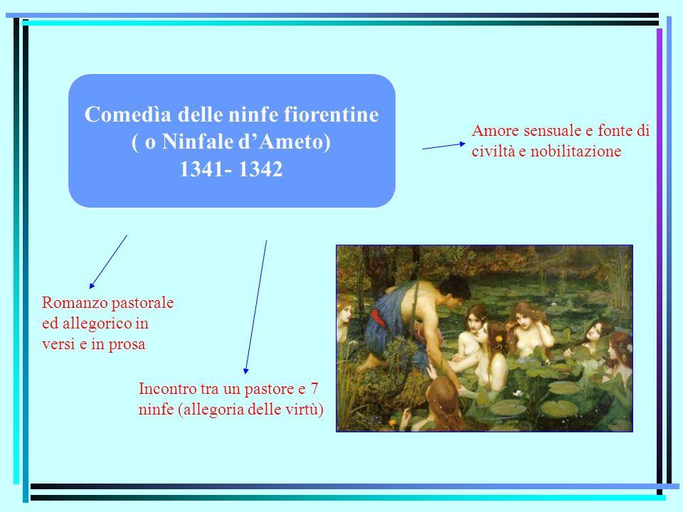 Comedìa delle ninfe fiorentine ( o Ninfale dAmeto) 1341- 1342 Romanzo pastorale ed allegorico in versi e in prosa Incontro tra un pastore e 7 ninfe (a