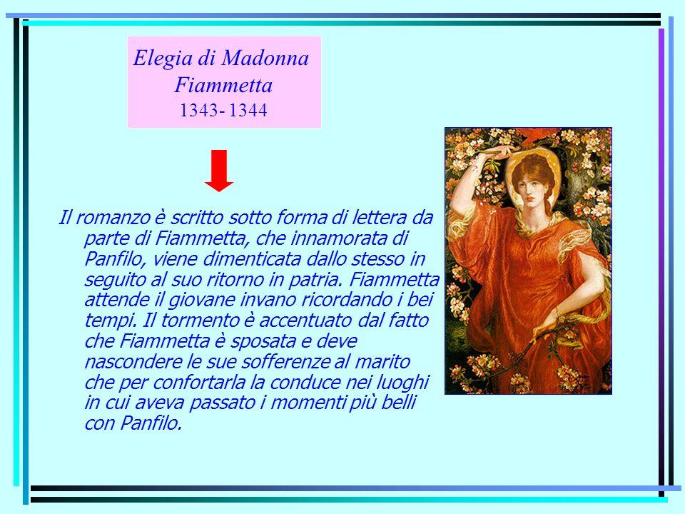 Il romanzo è scritto sotto forma di lettera da parte di Fiammetta, che innamorata di Panfilo, viene dimenticata dallo stesso in seguito al suo ritorno
