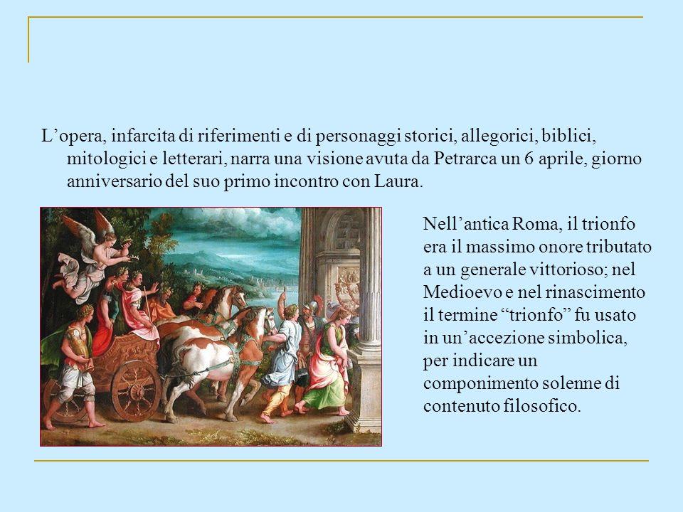 Lopera, infarcita di riferimenti e di personaggi storici, allegorici, biblici, mitologici e letterari, narra una visione avuta da Petrarca un 6 aprile
