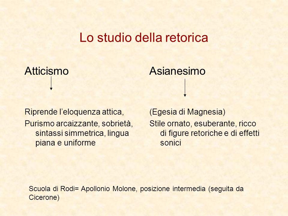 Lo studio della retorica Atticismo Riprende leloquenza attica, Purismo arcaizzante, sobrietà, sintassi simmetrica, lingua piana e uniforme Asianesimo