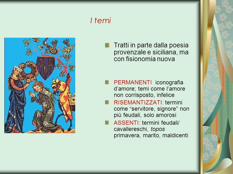 I temi Tratti in parte dalla poesia provenzale e siciliana, ma con fisionomia nuova PERMANENTI: iconografia damore; temi come lamore non corrisposto,