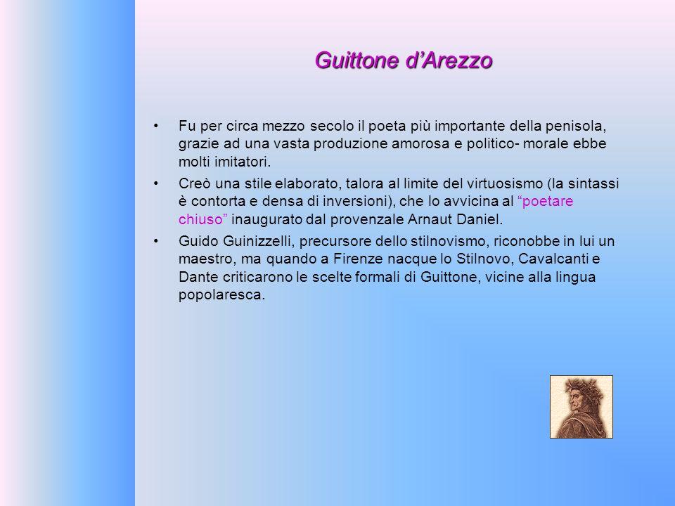 Guittone dArezzo Fu per circa mezzo secolo il poeta più importante della penisola, grazie ad una vasta produzione amorosa e politico- morale ebbe molt