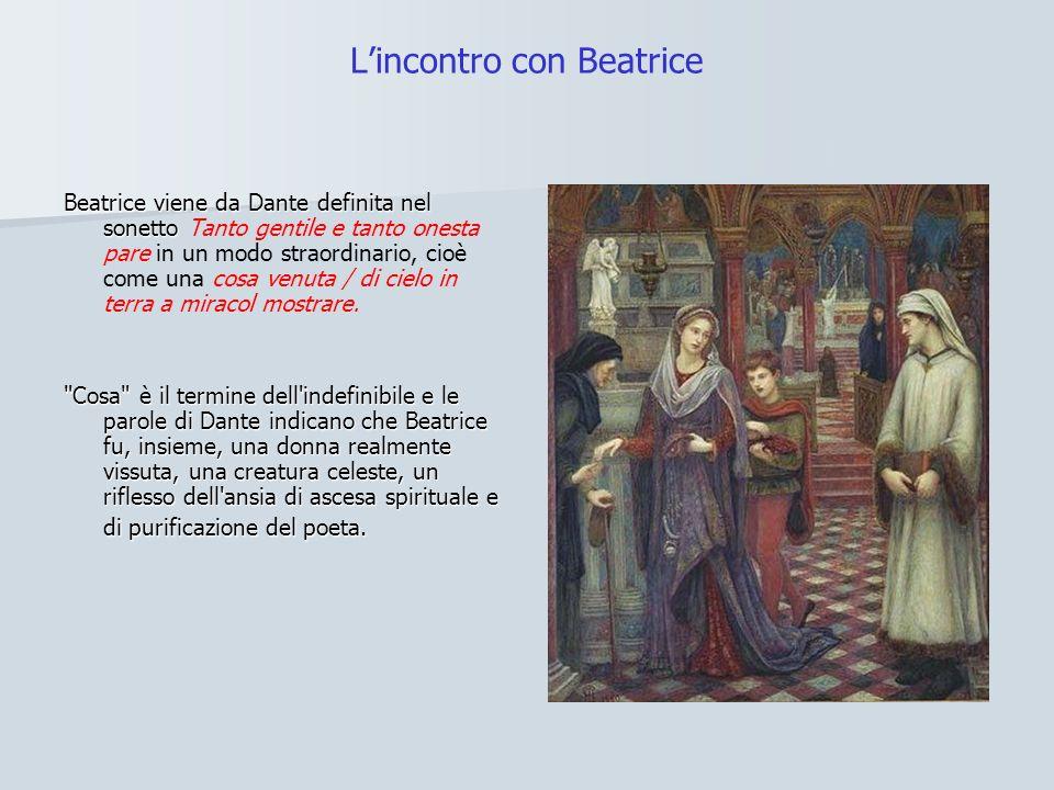 Beatrice viene da Dante definita nel sonetto Beatrice viene da Dante definita nel sonetto Tanto gentile e tanto onesta pare in un modo straordinario, cioè come una cosa venuta / di cielo in terra a miracol mostrare.