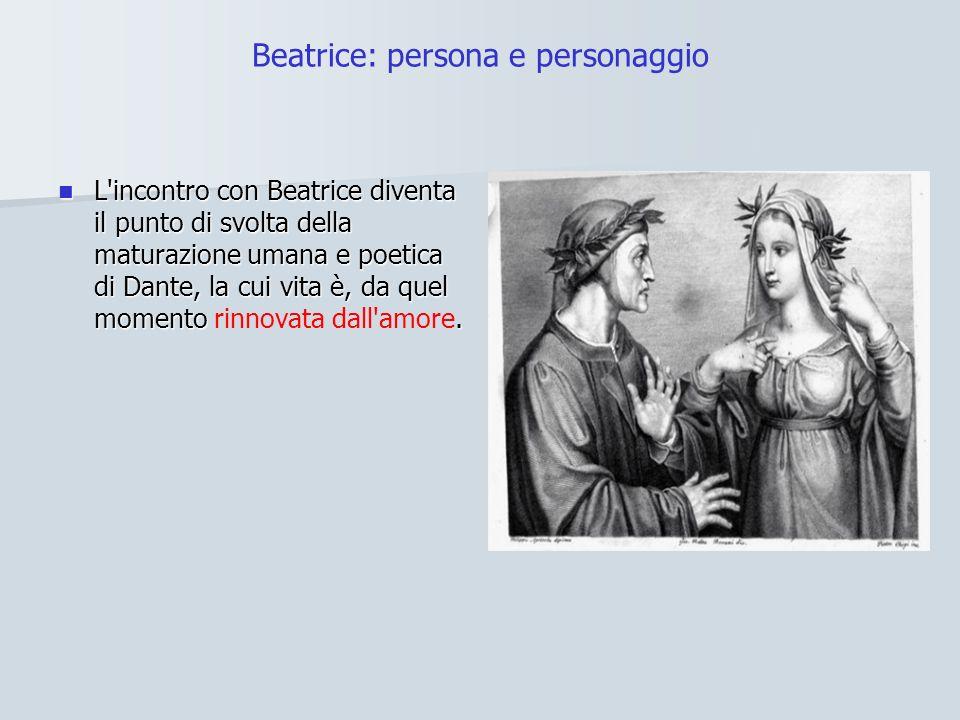 Beatrice: persona e personaggio L incontro con Beatrice diventa il punto di svolta della maturazione umana e poetica di Dante, la cui vita è, da quel momento.