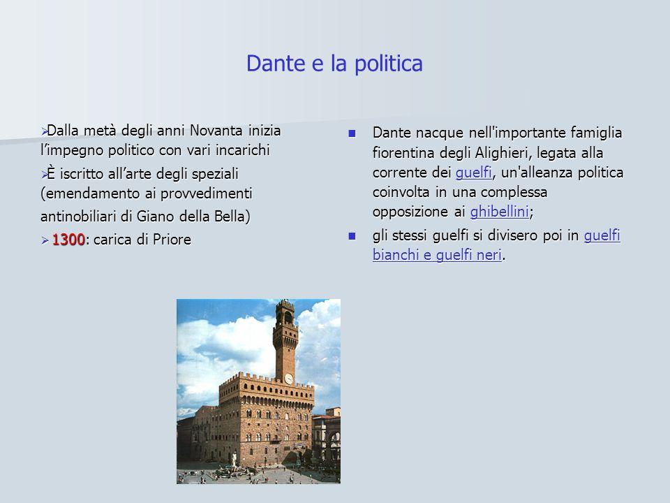 Dante e la politica Dalla metà degli anni Novanta inizia limpegno politico con vari incarichi Dalla metà degli anni Novanta inizia limpegno politico c